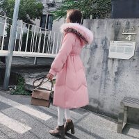 棉衣女中长款2018新款冬季韩版彩色大毛领过膝收腰羽绒外套