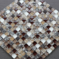 马赛克瓷砖水晶玻璃马赛克 电镀金银色镜面 瓷砖 墙贴拼图背景墙卫生间装修 30*30