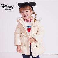 迪士尼宝宝重返学院女童梭织中长连帽羽绒服2018冬款上新