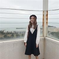 超值2件套!春季新款韩版纯色百搭泡泡袖圆领衬衫+后背交叉高腰吊带连衣裙时尚套装2件套 +