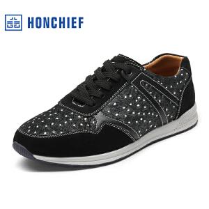 HONCHIEF 红蜻蜓旗下 秋季新款男士运动鞋真皮男鞋圆头日常跑步鞋