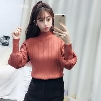 chic半高领毛衣女新款套头纯色学生显瘦潮打底针织衫长袖上衣韩版 桔红色 均码