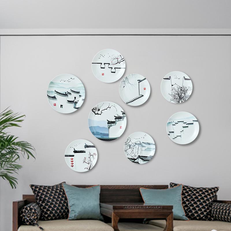 新中式花瓶墙壁挂饰客厅玄关墙面装饰品创意家居挂盘餐厅墙上挂件 春季新品