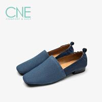 【到手参考价:329】CNE2019春夏款帆布鞋方头拼接舒适懒人鞋豆豆鞋女单鞋9T21004