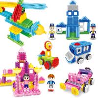 儿童积木玩具3-6周岁宝宝颗粒益智拼装拼插刺猬梳子刺刺鬃毛积木