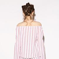 d'zzit地素 18春专柜新款 甜美条纹荷叶边一字领小上衣 3F1D5122H