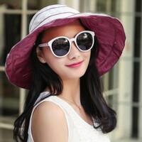 夏天时尚遮阳帽女大檐防晒防紫外线帽折叠沙滩帽太阳帽