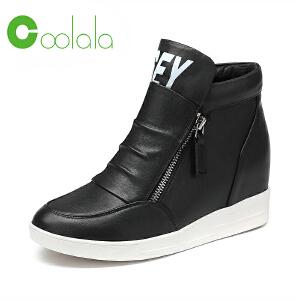 红蜻蜓coolala春季新款真皮休闲鞋女单鞋时尚运动内增高鞋女