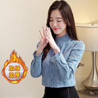 时尚气质衬衫女2018韩版立领打底衫加厚加绒保暖上衣OL职业衬衣冬