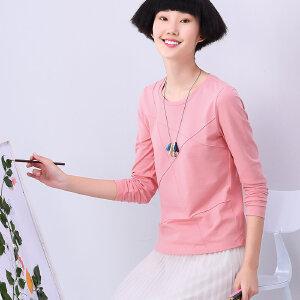 熙世界2018春装新款修身上衣简约通勤纯色长袖T恤女装101LT251