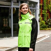 骑行雨衣电动车 雨衣雨裤套装全身防水男女电瓶车分体徒步骑行外卖雨衣 荧光绿 女款外口袋