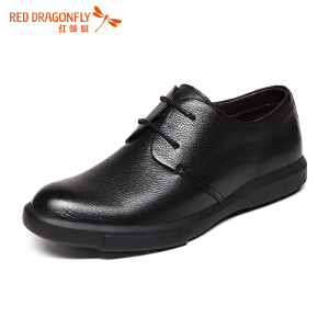 红蜻蜓男鞋 新款时尚休闲英伦圆头系带长绒毛男棉鞋