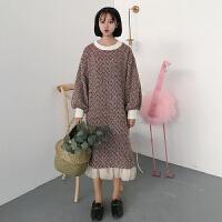 秋冬女装新款韩版宽松中长款网纱拼接长袖呢子连衣裙过膝长裙