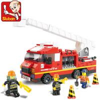 小鲁班积木 急速火警/消防云梯车 儿童拼装益智玩具 拼插玩具