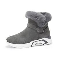 camel骆驼女鞋新款冬季平底短筒女靴子学生短靴女保暖加绒雪地靴女