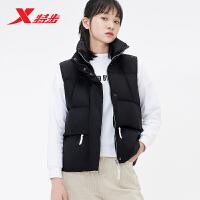 特步羽绒马甲女2019冬季新款鸭绒羽绒服连帽无袖上衣保暖运动外套881428A49226