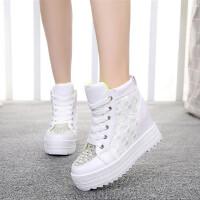 内增高鞋松糕鞋女鞋韩版运动鞋休闲鞋水钻圆头时尚高帮鞋坡跟厚底单鞋