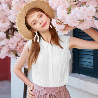 【3件2.5折到手价:135元】秋水伊人白衬衫2019夏装新款女装韩版纯色方领无袖设计感小众上衣