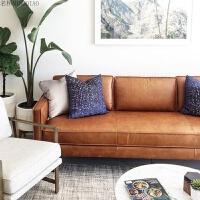 欧式实木皮质沙发头层牛皮北欧沙发组合客厅整装现代小户型三人位