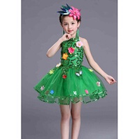 儿童绿色舞蹈服小草演出服蓬蓬公主纱裙亮片茉莉花合唱春晓花仙子