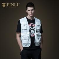 PINLI品立 2020春季新款潮流男装多口袋无袖背心工装马甲战术服