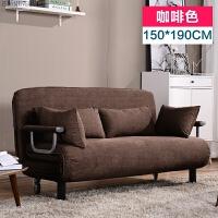 折叠床单人办公室午休床陪护折叠椅躺椅沙发床双人简易1.8午睡床 150CM 咖啡色(送4个抱枕)