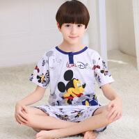 男童全棉夏季中大童家居服男孩休闲套装纯棉质短袖款儿童睡衣 6码 适合身高90-105CM