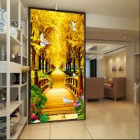 绣好的纯手工十字绣成品黄金满地竖版黄金大道新款客厅过道玄关