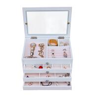 木制首饰盒欧式公主珠宝盒子大容量首饰收纳盒化妆盒饰品盒桌面收纳 镜面
