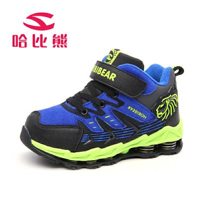 哈比熊童鞋秋冬新款男童鞋韩版大童时尚弹簧防滑户外棉鞋登山鞋潮