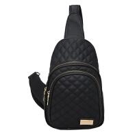 女士胸包女包斜跨包欧美时尚潮流胸前包休闲小包户外背包 黑色