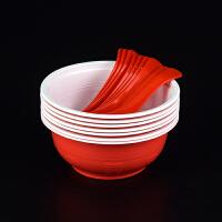 一次性碗筷套装加厚红色结婚酒店商用婚庆塑料杯碟餐具