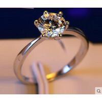 戒指 银饰  配饰 1克拉仿真钻戒大钻石结婚戒指925银饰镀白金男女求婚锆石情侣对戒