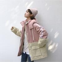 冬季新款韩版原宿bf宽松加厚拼色连帽收腰工装学生百搭棉袄女