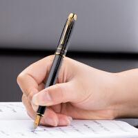 英雄钢笔953金夹铱金钢笔宝珠笔枪灰色商务笔练字墨水钢笔明尖