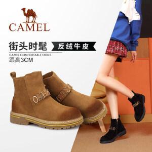 Camel/骆驼2018冬季新款 粗跟时尚潮流街头时髦好搭耐磨防滑女靴