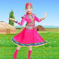 新款少数民族少儿童蒙族舞蹈裙袍幼儿园蒙古服元旦表演出服装女童 玫