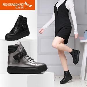 红蜻蜓女靴厚底系带短靴女时尚加绒保暖英伦风马丁靴