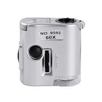60倍高倍高清放大镜便携式显微镜手持带led灯珠宝鉴定100