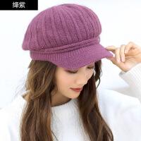 帽子女冬天绞花贝雷帽女韩版潮毛线帽百搭保暖针织帽鸭舌帽
