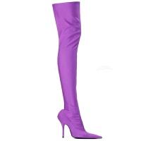 尖头细跟长筒靴女过膝靴欧洲站秋冬新款高跟网红靴弹力靴女袜子靴