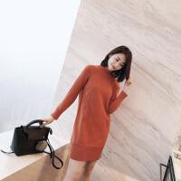 欧美小高领长袖兔绒包芯纱中长款针织衫连衣裙女潮 M 建议90斤-125斤