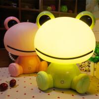 创意卡通青蛙台灯三档触摸小台灯LED卧室床头小夜灯可调光起夜灯