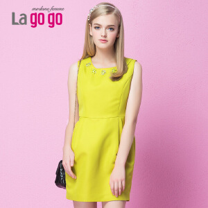 lagogo拉谷谷冬季新款圆领纯色冬季连衣裙