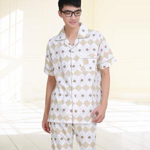 金丰田夏男士睡衣短袖纯棉 夏季 中青年全棉男款舒适休闲可外穿家居服套装1198