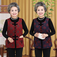 中老年人背心奶奶装唐装大码外套60-70-80女春秋冬装圆领马甲上衣