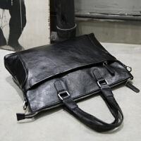 新款男包手提包男士单肩斜挎包皮包电脑包横款商务公文包韩版潮流简约 黑色