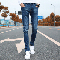 男士牛仔裤男韩版休闲修身弹力小直筒牛仔裤男小脚男裤