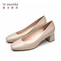 【12.12全场3折】莱尔斯丹 新款方头粗跟奶奶鞋高跟职业法式少女单鞋AM51003