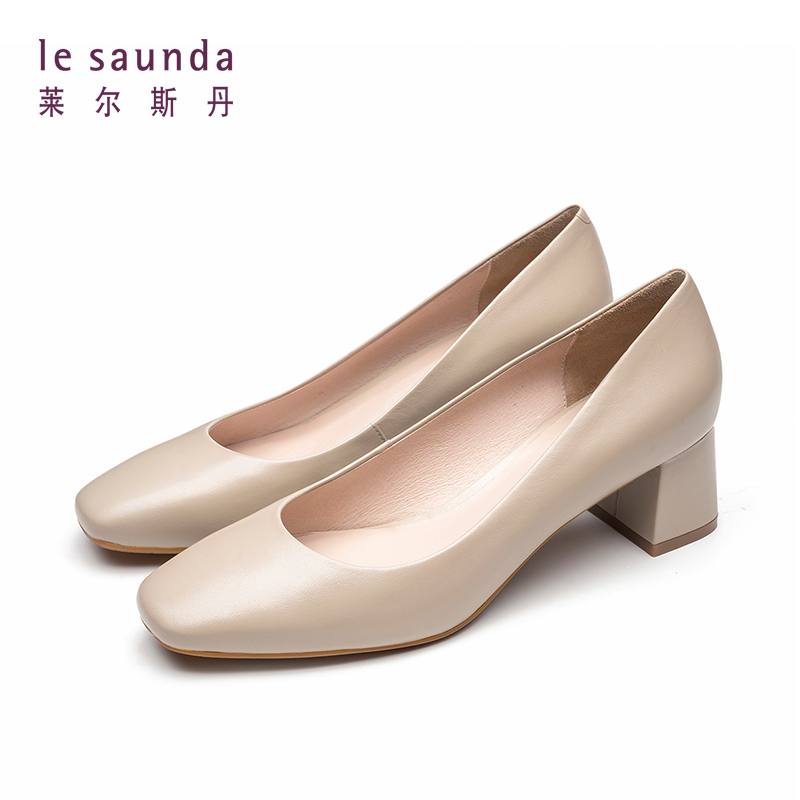 """莱尔斯丹 新款方头粗跟奶奶鞋高跟职业法式少女单鞋AM51003 简约低调的通勤伴""""履"""""""